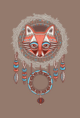 Dream catcher with red fox. Vector postcard