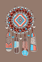 Dream catcher with color feather . Vector postcard