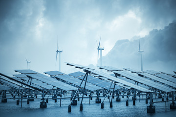 solar and wind power in coastal mud flat