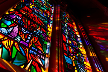 Lights come through the stained glass window