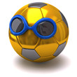 Golden soccer ball with sunglasses