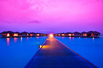 Sunset over resort in Maldives