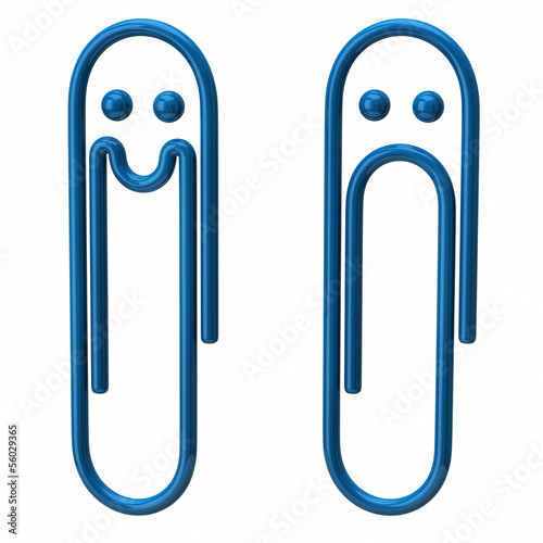 Illustration of sad and happy blue paper clip