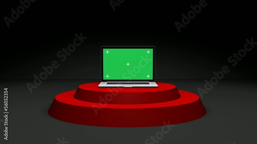 Notebook on Stage With Green Screen With Alpha