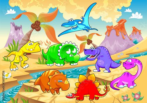 Dinosaurs rainbow in landscape. - 56032726