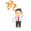 Geschäftsman mit Fragezeichen, Probleme - 3D Illustration