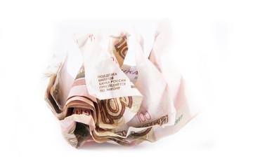 Crumpled russian money