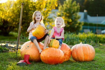 Two little sisters sitting on huge pumpkins