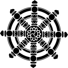 Buddhistisches Symbol, Dharma, Rad, Chakra, Glück