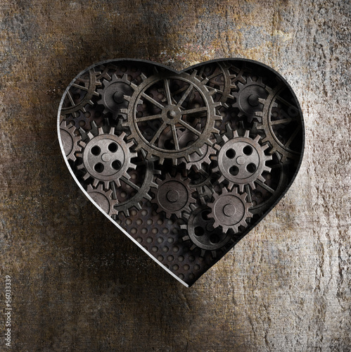 metal heart with rusty gears and cogs