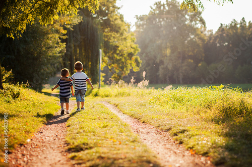 Brothers, walking in a park