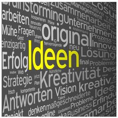 """IDEEN"" Wortwolke (Innovation Lösungen Kreativität Strategie)"