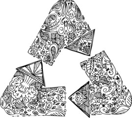 Black and whtie recycle arrows