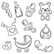 Baby, Eltern, Kind, Kinder, vector set