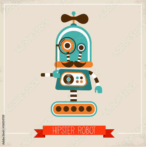 Hipster robot toy icon - 56034709