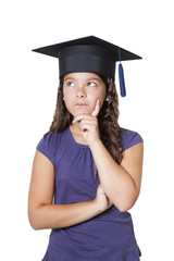 thoughtful girl with mortarboard