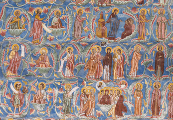 religious paintings on Moldovita monastery wall, Romania