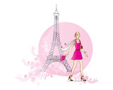 Woman and Tour Eiffel