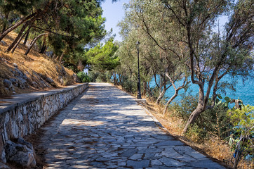 Path round a hill with a sea view, in Nafplio, Greece