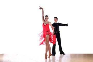 Latino dancers in ballroom isolated on white
