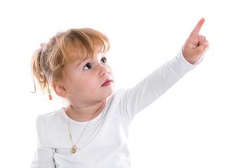 Kleinkind isoliert zeigt mit dem Finger - Zeigefinger - Mädchen