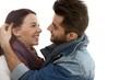 Happy romantic couple embracing kissing