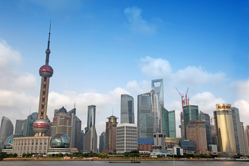 Shanghai Pudong skyline view from the Bund -