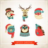 Christmas background with hipster animals