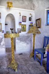 Inside a small chapel in Dokos island, Greece