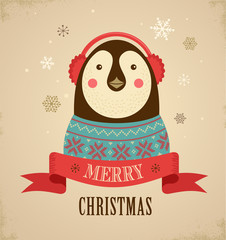 Christmas background with hipster penguin
