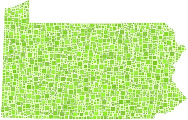 Map of Pennsylvania - USA - in a mosaic of green squares