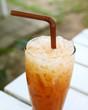 Iced tea with straw