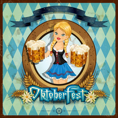 Oktoberfest girl with vintage background