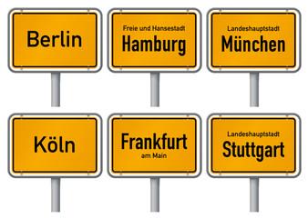 Ortsschilder großer Städte in Deutschland 1