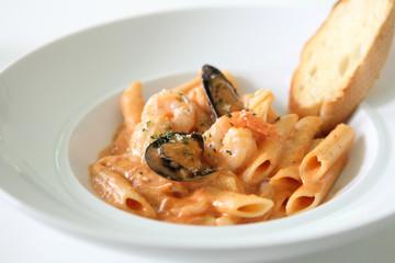 Spaghetti Penne with seafood