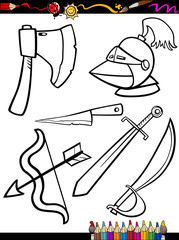 cartoon weapons objects coloring page