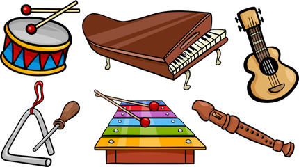 musical objects cartoon illustration set