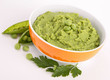 bowl of pea puree