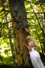 Woman and old spruce