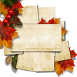 Vintage stack of cards with autumn leaves