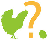 Chicken, egg, question mark. Vector silhouettes. EPS 8