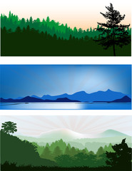 three landscapes with forest