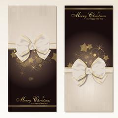 Set aus 2 Weihnachtskarten mit Schleife