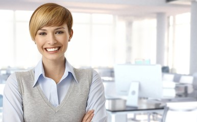 Happy female office worker