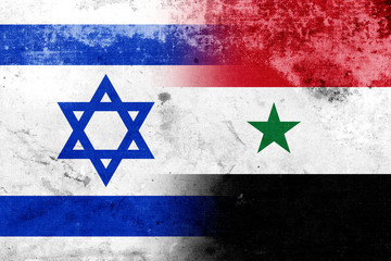Grunge Israel and Syria Flag