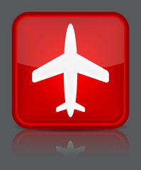 Airplane icon. Sign with reflection isolated on grey. Vector ill