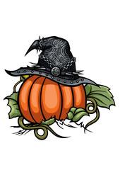 Halloween Pumpkin Witch Emblem