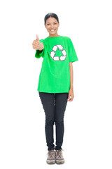 Black haired model wearing recycling tshirt giving thumb up
