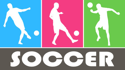 Soccer players vector silhouettes on color background
