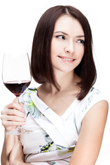 woman holding wine glass